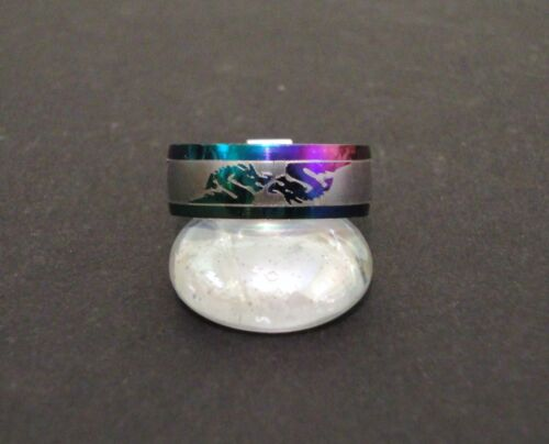 Dragons MULTI COLOR ACIER INOXYDABLE 7 mm Bague Band Taille 11.5