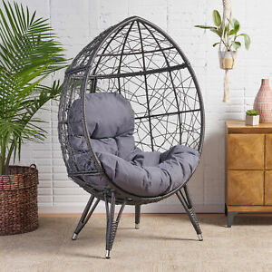 Keondre Indoor Wicker Teardrop Chair with Cushion
