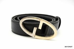 GUCCI-Belt-Leather-GG-Logo-Silver-Gold-Combination-Buckle-Black-2113k