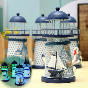 Mediterranean-Lighthouse-Iron-Candle-LED-Light-sailboat-Shell-Home-Table-Decor