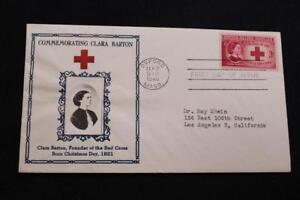 Patriotique-Housse-1948-1ST-Jour-Edition-Clara-Barton-Founder-Red-Croix-Crosby