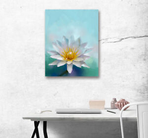 White lotus flower poster canvas oil painting print nordic home image is loading white lotus flower poster canvas oil painting print mightylinksfo