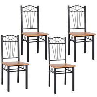 Sales 4pcs Steel Frame Dining Chairs Kitchen Modern Furniture Bistro Home Wood on sale