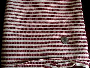1 7 8 Yards Seersucker Fabric Wine Burgundy White Striped Plisse