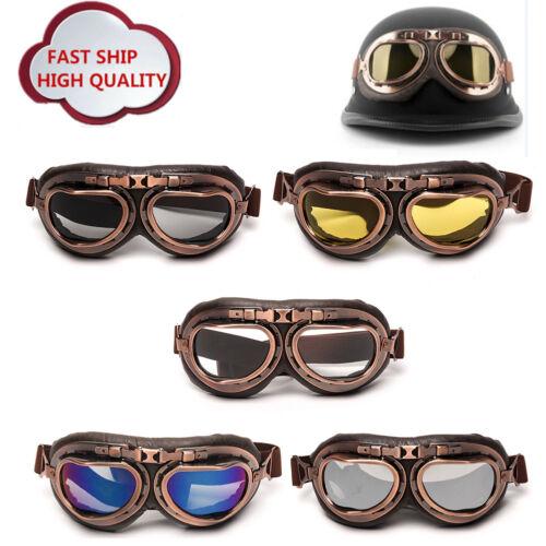 Helmet Steampunk Motorcycle Flying Goggle Eyewear Vintage Pilot Biker Tinted UK
