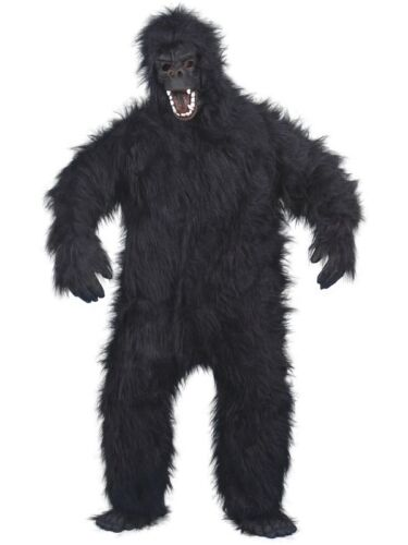 MENS GORILLA FANCY DRESS COSTUME BLACK HAIRY APE MAN HALLOWEEN KING KONG OUTFIT