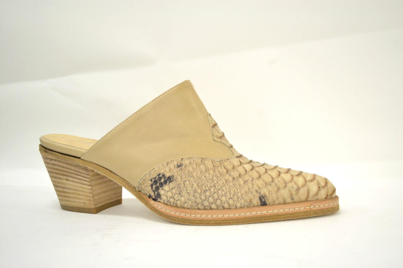 Schuhe SABOT Damens BEIGE VERA PELLE ARTIGIANALI VITELLO + PITONE STAMPATO ARTIGIANALI PELLE 35-40 ba12cc