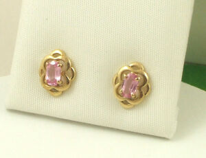 EGKS783-Solid-9ct-375-Yellow-Gold-Real-Pink-Sapphire-Celtic-Knot-Stud-Earrings