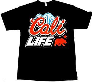 CALI-LIFE-T-shirt-California-Beer-Logo-Tee-100-Cotton-Men-Black-New