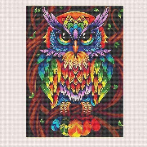 5D Full Drill Diamond Painting Colourful Owl Cross Stitch Kits Art Wall Decors
