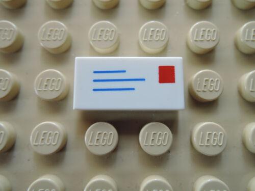 Lego 2 x Fliese 3069bp01 weiß 1x2 bedr Brief Adresse Briefmarke