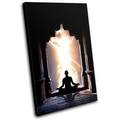 Lotus Pose Buddhism Religion SINGLE CANVAS WALL ART Picture Print VA