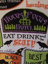 2 HALLOWEEN RESTAURANT SIGNS KITCHEN TEA TOWELS BLACK CAT CAFE WITCH TAVERN