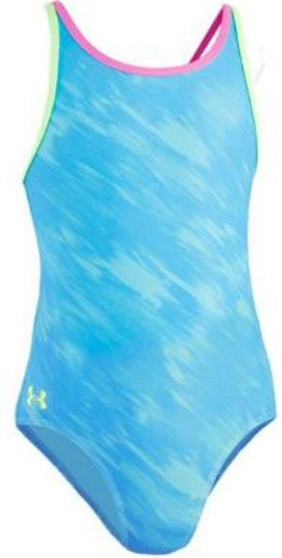 ce256a4eeb69e Buy Under Armour Youth Girls Size 8 Heat Gear Meridian Blue Swimsuit Retail  online