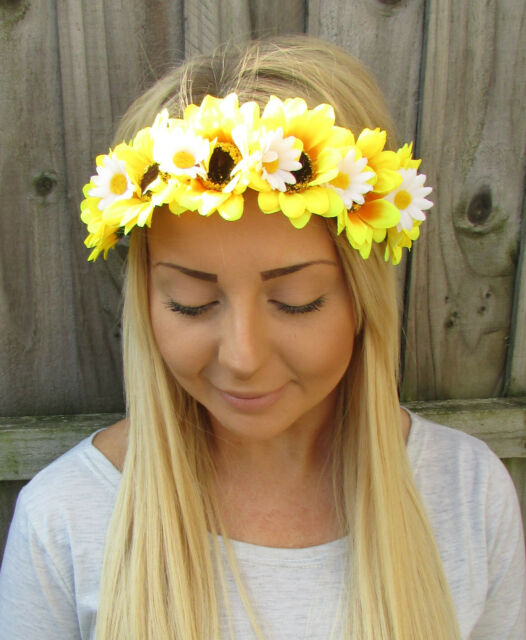 Yellow white sunflower daisy flower garland headband festival hair yellow white sunflower daisy flower garland headband festival hair crown 1926 mightylinksfo
