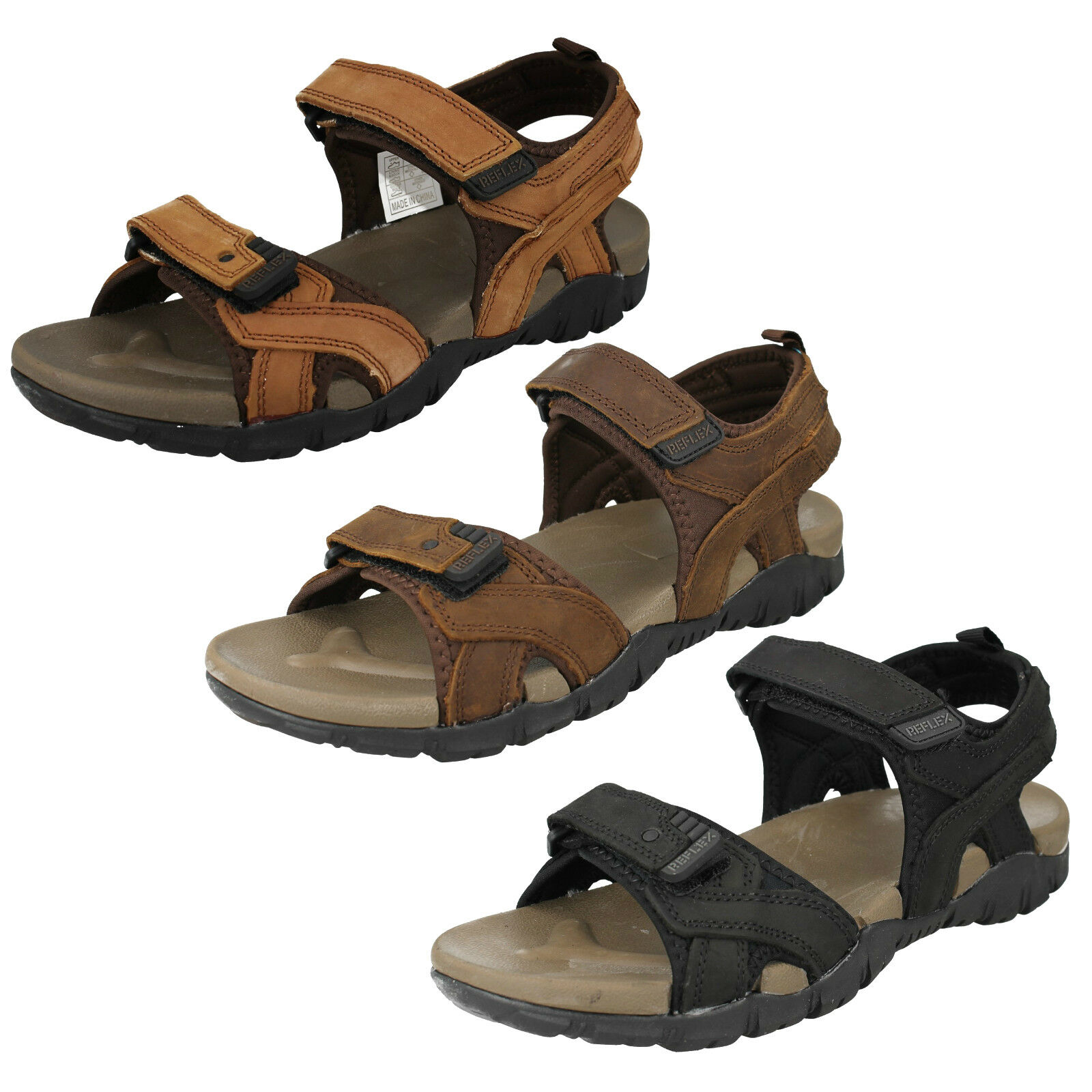 MENS REFLEX A0R052 RIPTAPE STRAP OPEN TOE CASUAL LEATHER BEACH SUMMER SANDALS