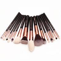 Jessup Rose Gold 15 pcs set  Flat Foundation Powder Eyeliner Makeup Brushes set