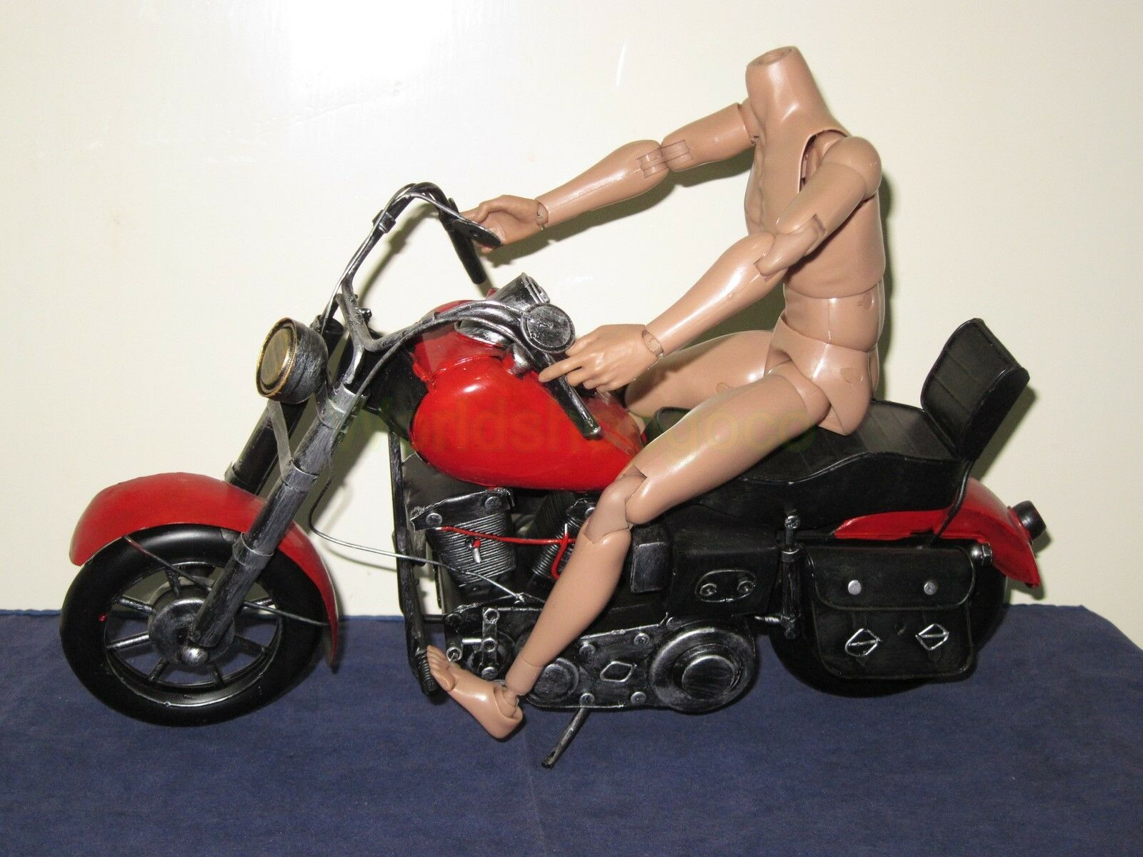 1 6 Scale WWII Vintage Motorcycle Red for 12  Action Figure