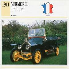1911 VERMOREL Type L 12-CV Classic Car Photograph / Information Maxi Card