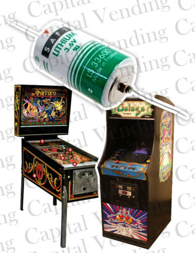 3.6V Lithium Battery with Soldering Tails for Arcade Games and Pinball Machines