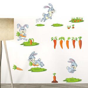 Wandtattoo Hase Kinderzimmer Spielzimmer Tiere Karotte Rasen Grun
