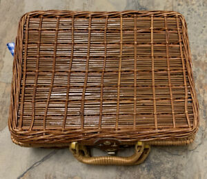 1pack Vintage Suitcase Style Picnic Decor Storage Basket Woven Wicker Rattan