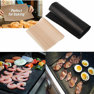 2x Reusable Non-stick BBQ Grill Mat Baking Surface Hot Plate Easy Clean Camping
