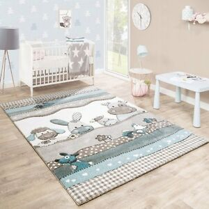 Image Is Loading Childrens Animal Rugs Grey Beige Blue Baby Nursery