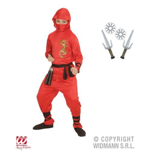 """Costume Ninja Per Bambini Rosso """"Red Dragon"""" con le armi 128 PER CARNEVALE SAMURAI combattenti"""