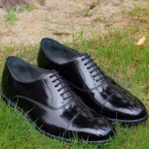 BLACK-Derbies-Homme-Chaussures-Formel-Bureau-Usure-Handmade-Cuir-Veau-Chaussures