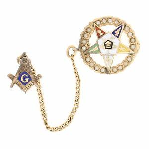 OES-Past-Patron-Badge-10k-Gold-Seed-Pearls-Enamel-Women-039-s-Masonic