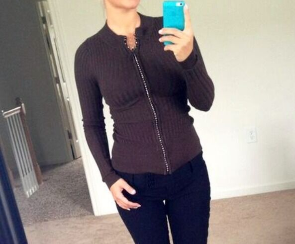 CHRISTINE V Stylish Unique Zip Sweater Looks Stunning Size Small