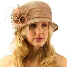 Summer Fancy 1920s Flapper Sinamay Trio Floral Cloche Bucket Church Hat Taupe