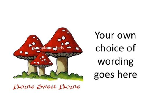 RED /& WHITE TOADSTOOLS Personalised Sticky Address Labels Craft /& Gift Stickers