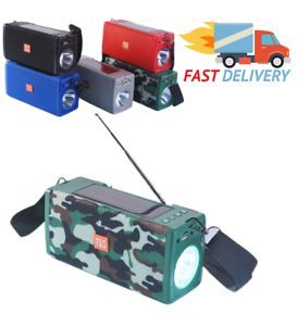 Bluetooth Speaker Outdoor Rechargeable Extra Bass Flashlight FM Radio/TF/USB/Aux