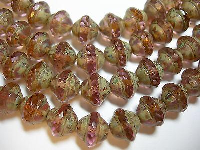 20 10mm Czech Light Amethyst Crystal Travertine Saturn Saucer Beads