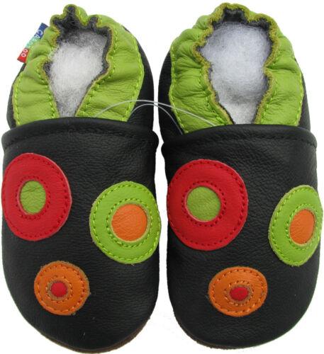 Carozoo cercle noir 0-6 m semelle souple en cuir chaussures de bébé