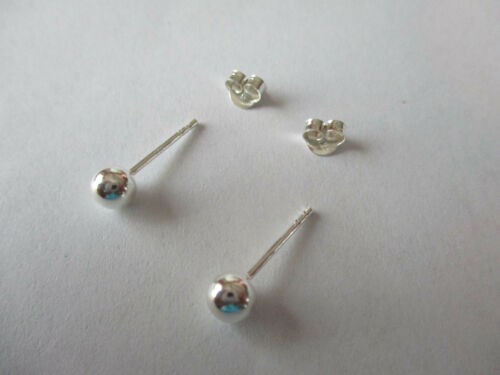 Sterling Silver Ball Earrings High polished 925 Silver 5mm round