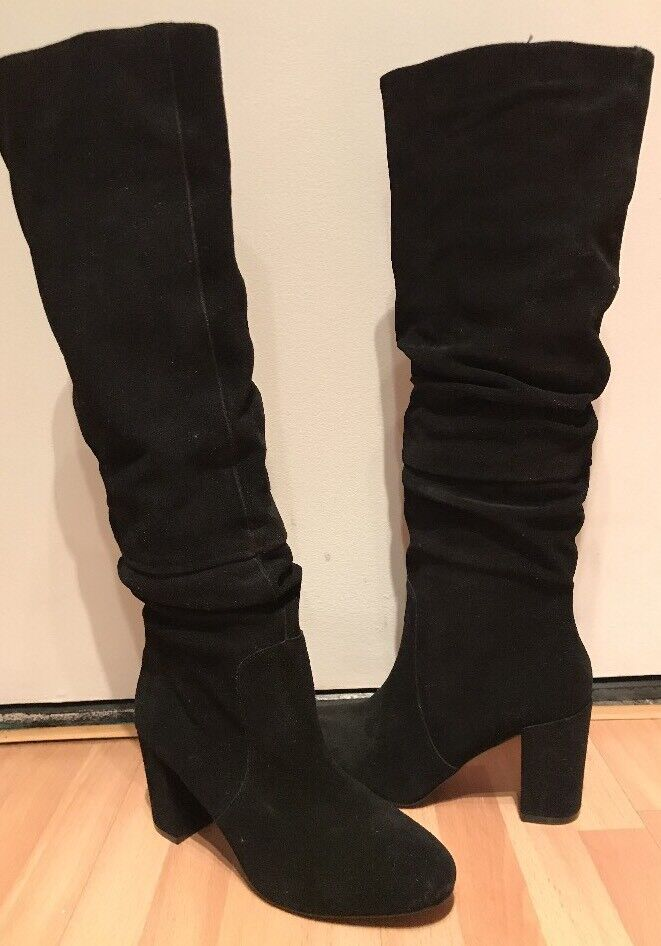 STEVE MADDEN SAGAN Damenschuhe BLACK SUEDE LEATHER OVER NEW KNEE SLOUCHY Stiefel 9.5 NEW OVER 6f3cff