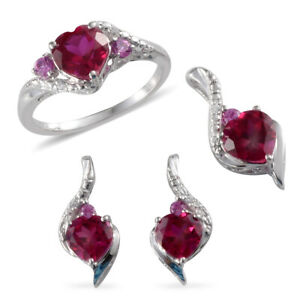Synthetic-Ruby-Created-925-Sterling-Silver-Earrings-Pendant-Ring-Gift-Set-Size-7