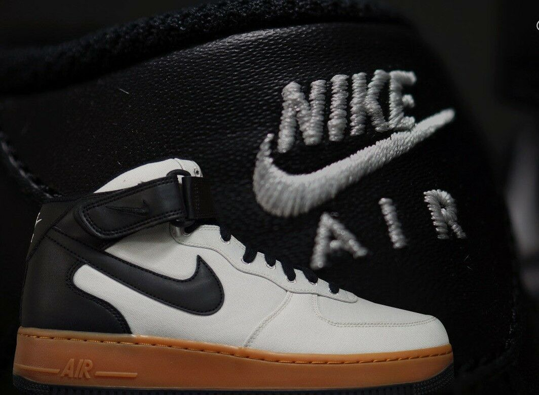 MENS NIKE AIR FORCE 1 MID '07 TXT SIZE 10.5 EUR 45.5 AJ9514 004)LIGHT BONE BLACK