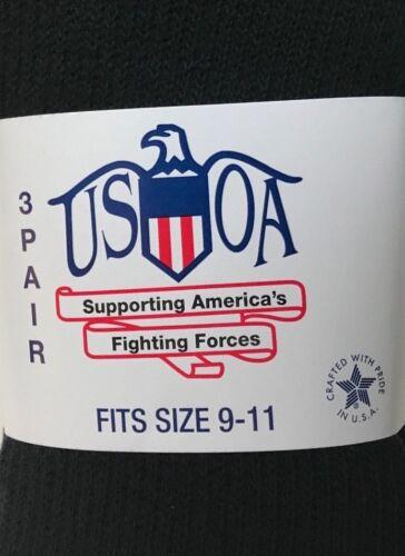 USOA 6-PR MILITARY BLACK OTC 2.5/% SILVER ANTIBACTERIAL SOCKS SZ M FIT 4-8 SHOE