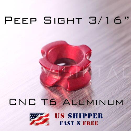 Peep Sight for Compound Bow 3//16 pouces couleur rouge CNC en Aluminium T6