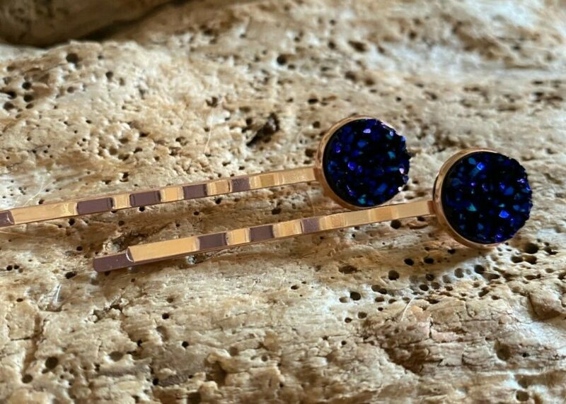 Search For Flights 2 Mermaid Rose Gold Plated Hair Pins, Sparkly Starry Blue Faux Druzy Bobby Pins