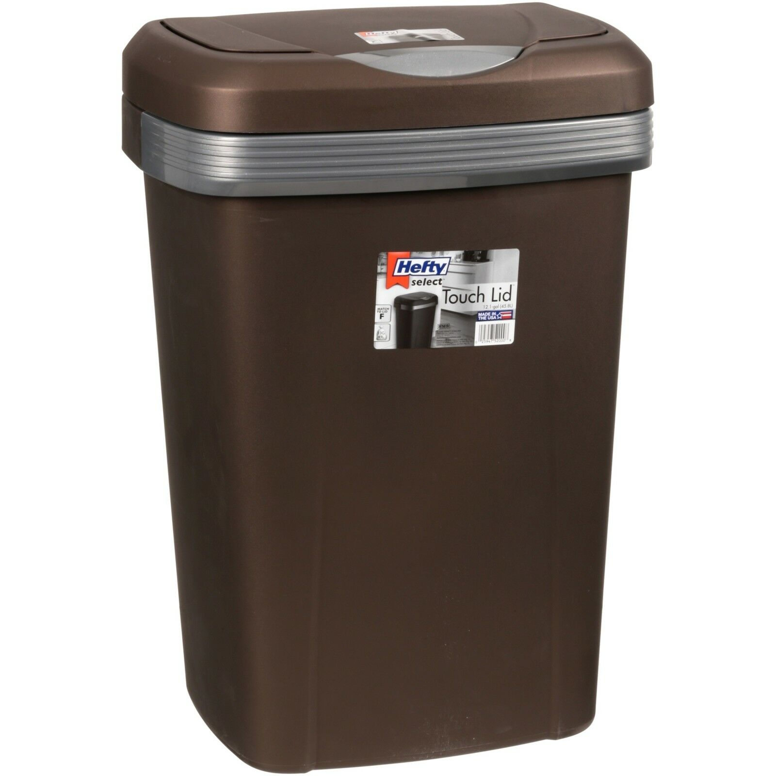 Kitchen Trash Can 10 Gallon Garbage Bin Waste Basket Touch Lid Plastic Black NEW