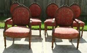 Antique-Set-of-6-French-Louis-XVI-Carved-Walnut-Dining-Room-Chairs-Coral-Rose