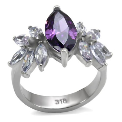 Purple Teardrop CZ TK316 Stainless Steel Cocktail Ring
