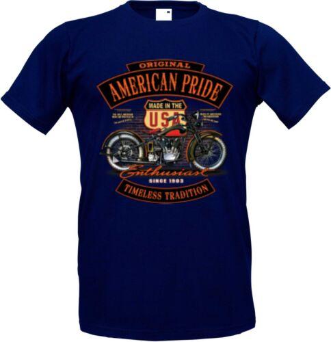 T shirt dans navyblau avec un motard- Chopper /& Old schoolmotiv modèle Enthusiast