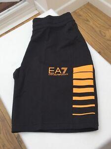 41972eb626572 EMPORIO ARMANI EA7 Night Blue Cotton Shorts Orange Stripes   Logo ...