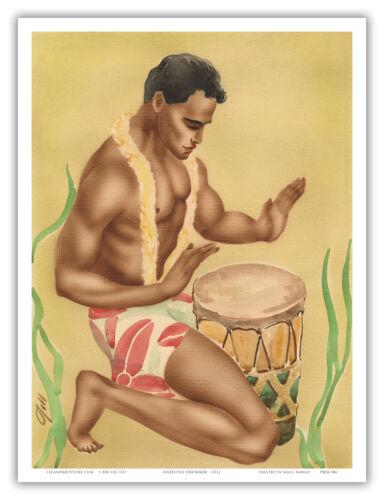 Kneeling Hawaiian Drummer Mea Hoʻokani Pahu Vintage Art Poster Print